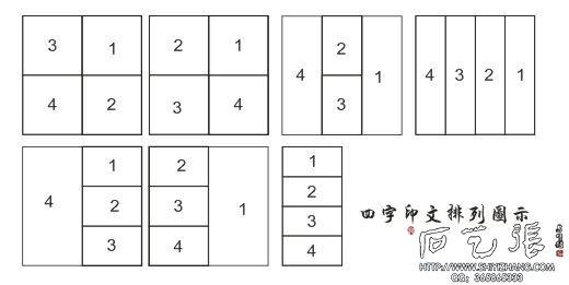 四个字篆刻印文排列图示